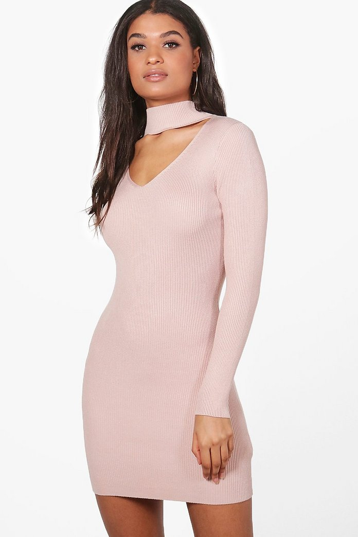 Holly Rib Knit Choker Jumper Dress