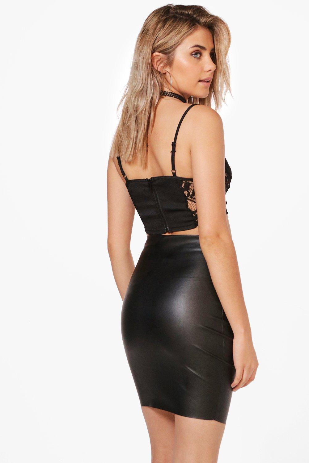 Aurera High Waist Leather Look Mini Skirt at boohoo.com