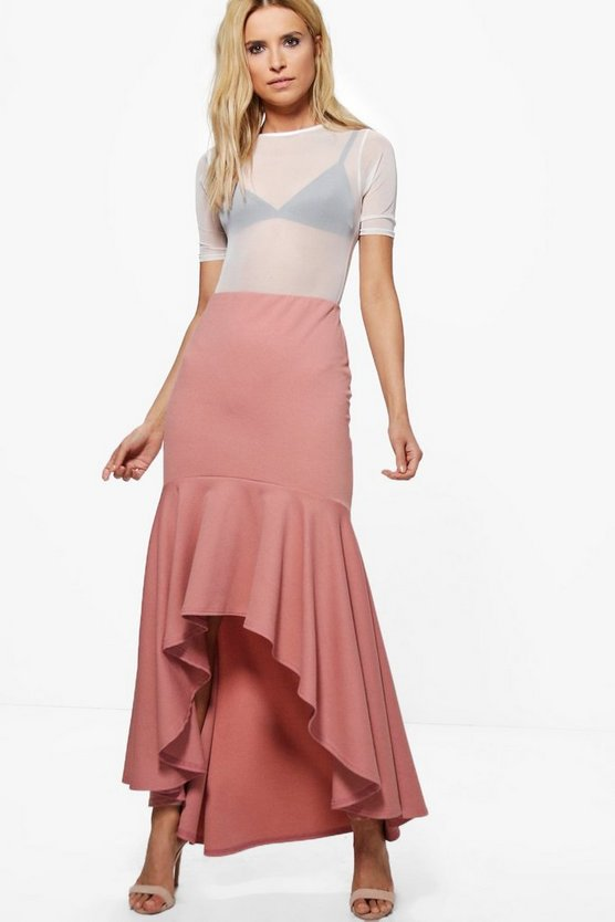 Raya High Low Hem Crepe Maxi Skirt