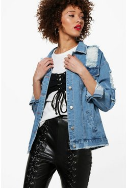 Alex Oversize Distressed Denim Jacket