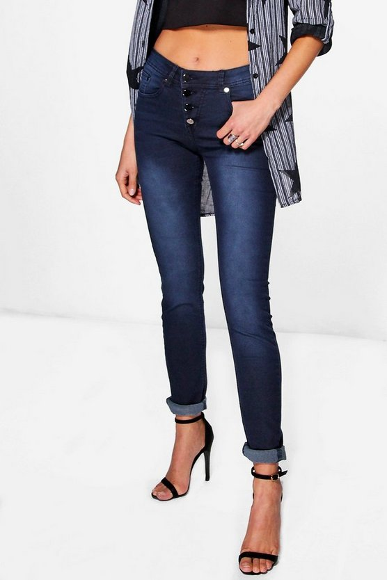 Lyla Midrise Button Front Skinny Jeans