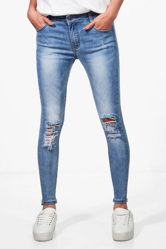 Lucy Mid Rise Pocket Detail Skinny Jeans