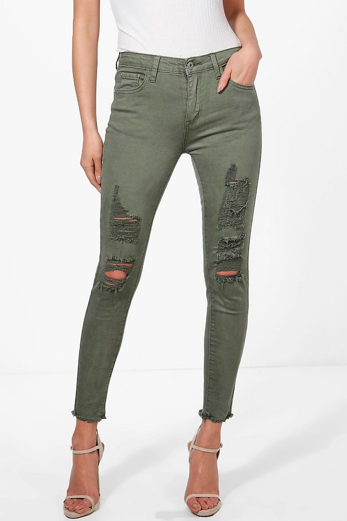 Anna Mid Rise Distressed Knee Skinny Jeans