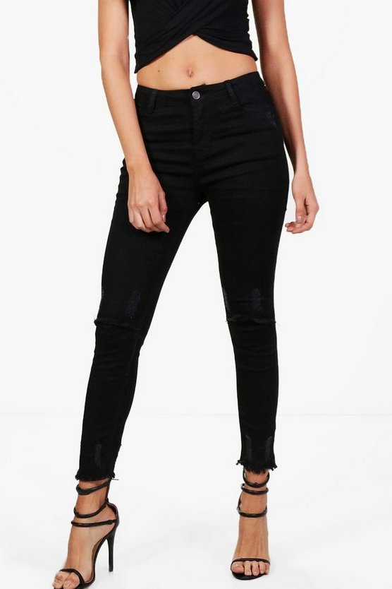 Brianne Slit Knee Destroyed Hem Skinny Jeans