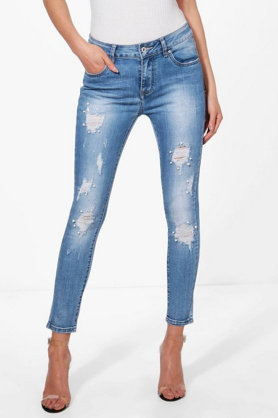 Mid Rise Pearl Skinny Jeans