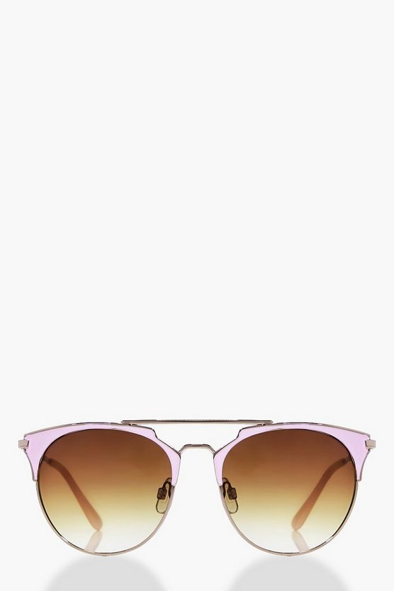 Cerys Mirrored Lense Bar Aviator Sunglasses