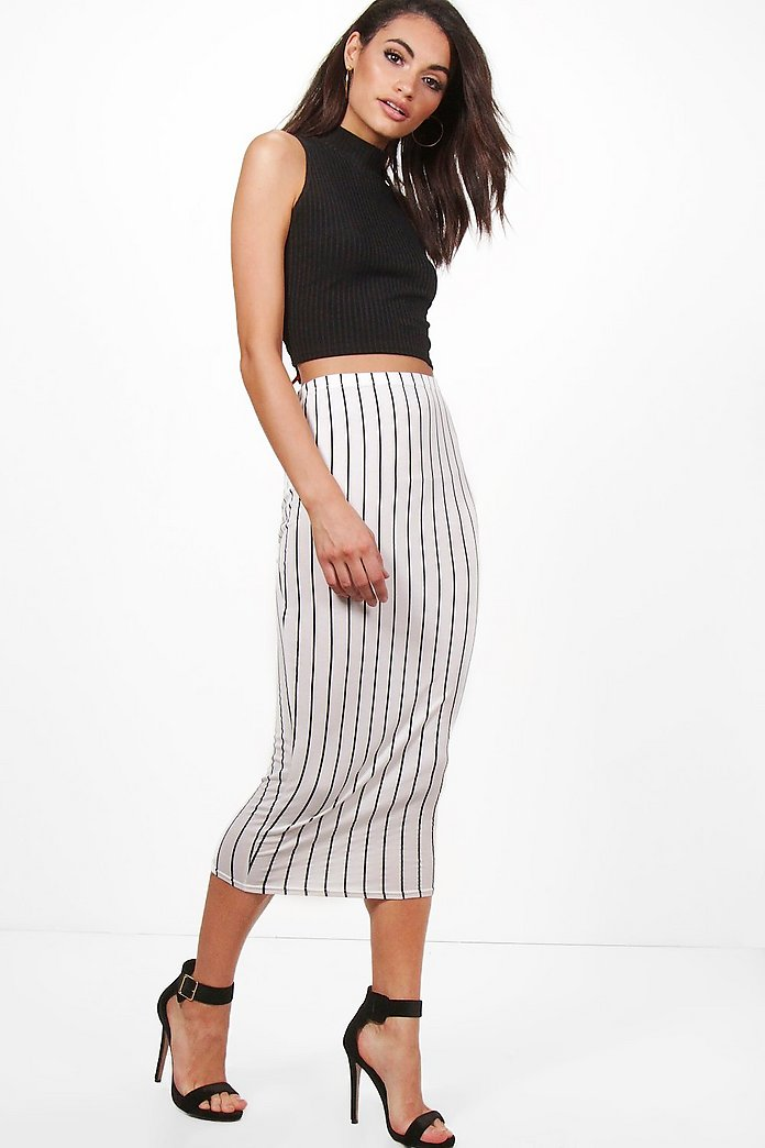 Ruby Monochrome Stripe Long Line Midi Skirt