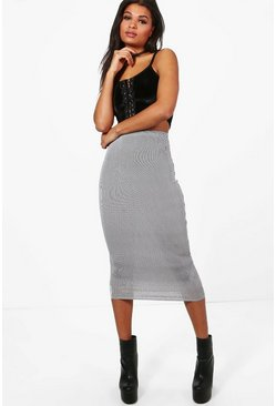 Tia Monochrome Stripe Long Line Midi Skirt
