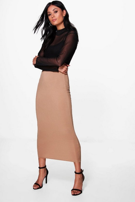 Rose Basic Jersey Long Line Midi Skirt | Boohoo