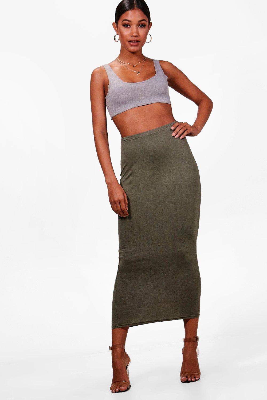 Rose Basic Jersey Long Line Midi Skirt at boohoo.com