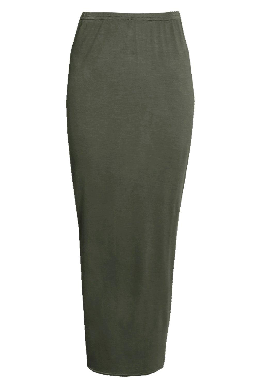 Rose Basic Jersey Long Line Midi Skirt at boohoo.com