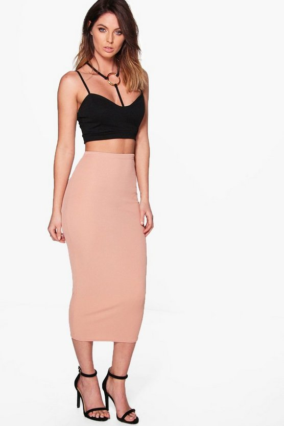 Harper Ribbed Long Line Midi Skirt
