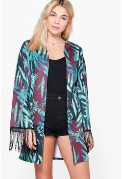 Holly Tropical Print Tassel Trim Kimono
