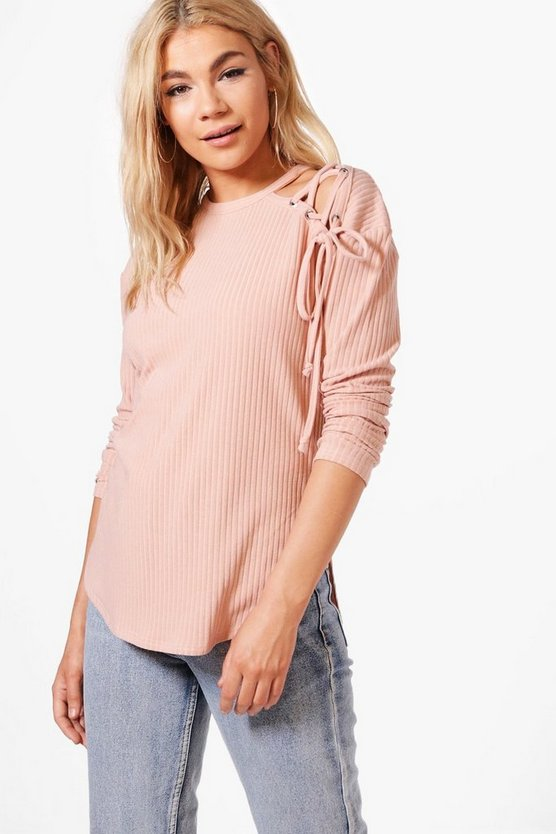 Abigail Lace Up Shoulder Rib Knit Jumper