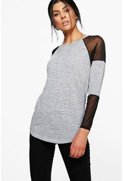 Sarah Sheer Sleeve Fine Knit Jumper