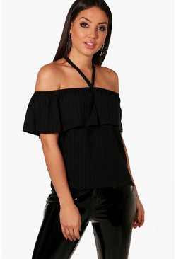 Harriet Off The Shoulder Rib Knit Ruffle Jumper