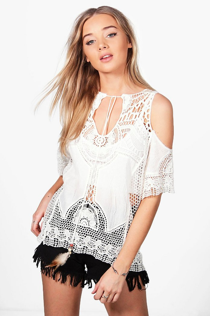 Melissa Feather Tie Cold Shoulder Crochet Top