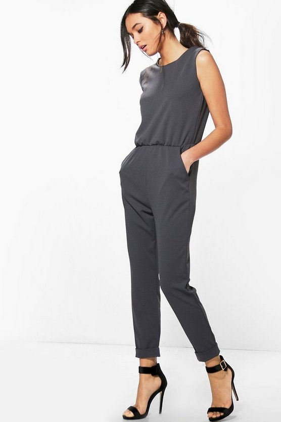 Zip Shoulder Tailored Jumpsuit