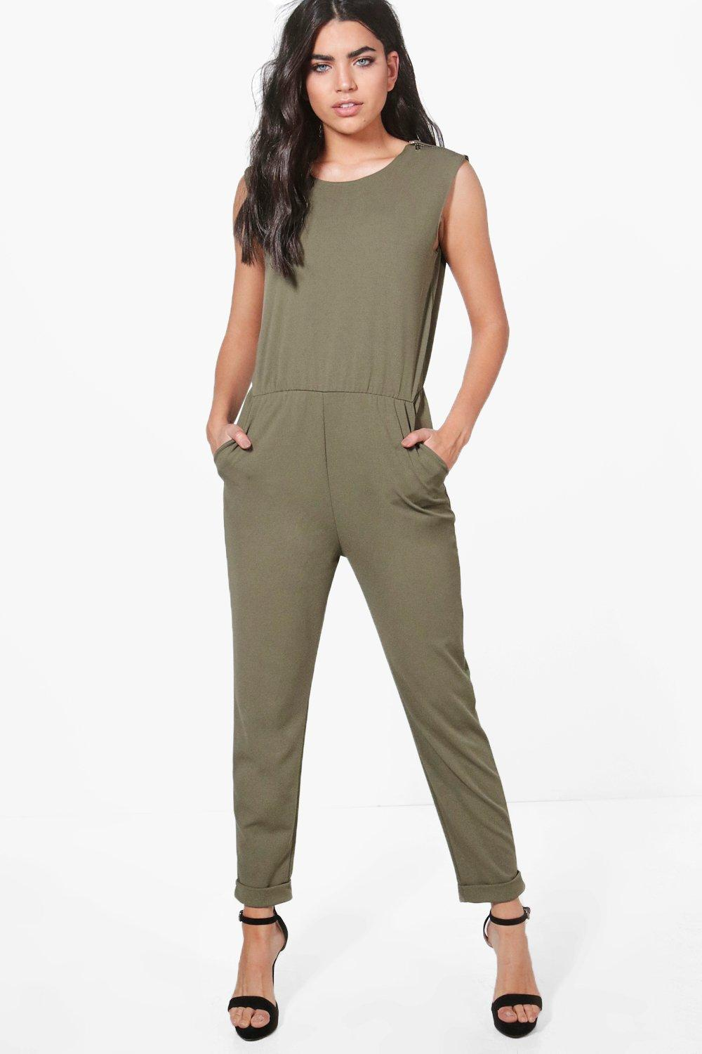Zip Shoulder Tailored Jumpsuit  khaki