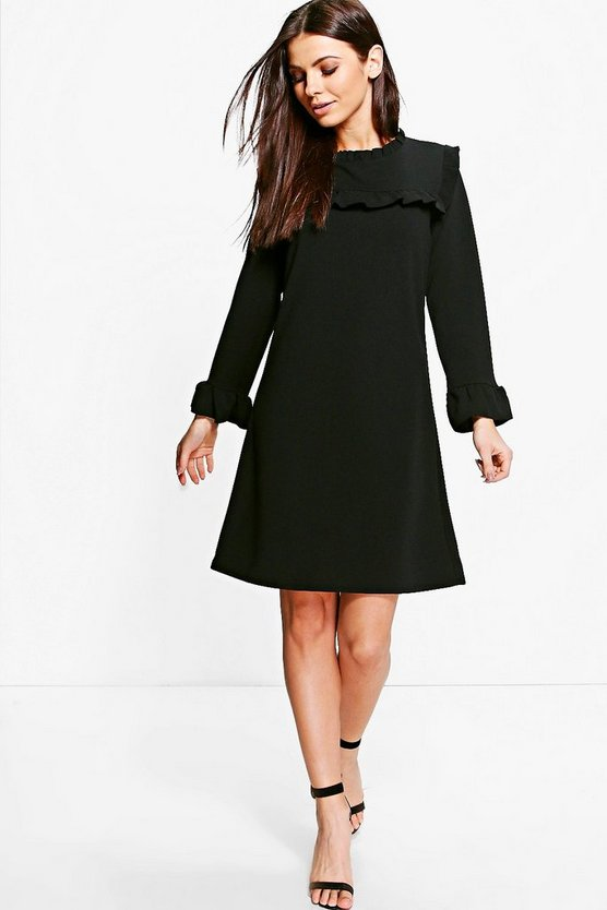 Rosie Ruffle Neck & Cuff Tailored Dress