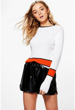 Jessica Rib Knit Stripe Crop Jumper