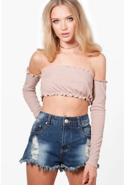 Saskia Cropped Rib Off The Shoulder Top