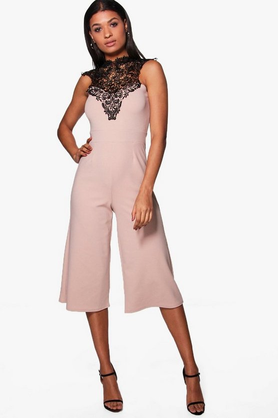 Crochet High Neck Culotte Jumpsuit