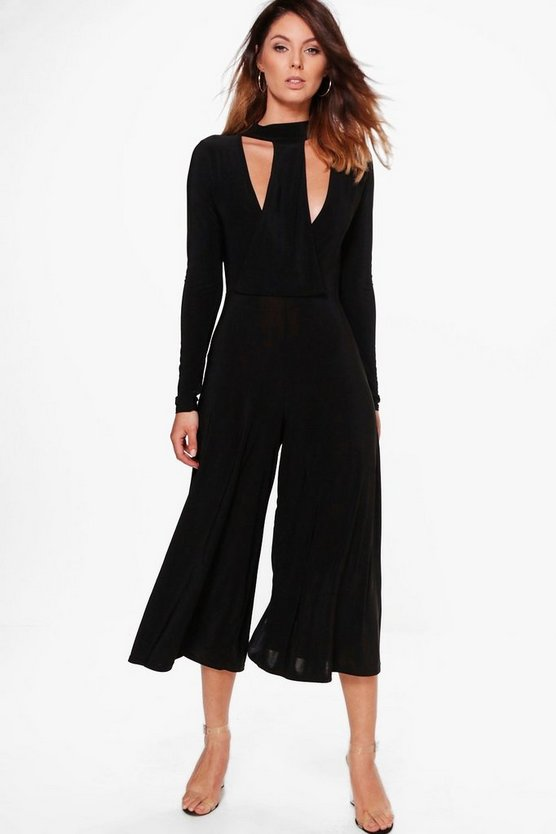 Sophie High Neck Cut Front Culotte Jumpsuit