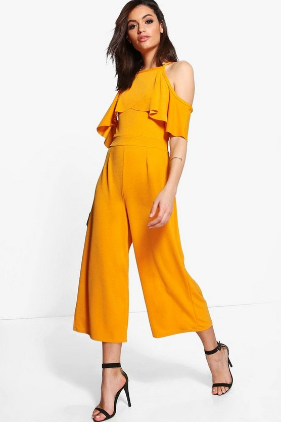Hanna Open Shoulder Frill Detail Culotte Jumpsuit