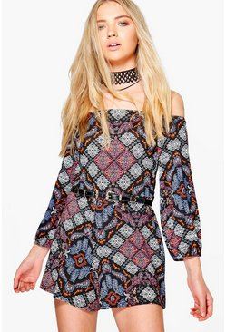 Emily Printed Off The Shoulder Playsuit