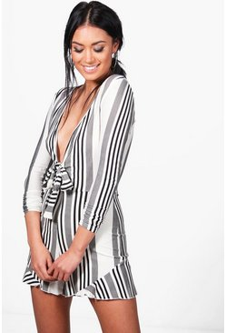Sia Striped Deep Plunge Tie Front Playsuit