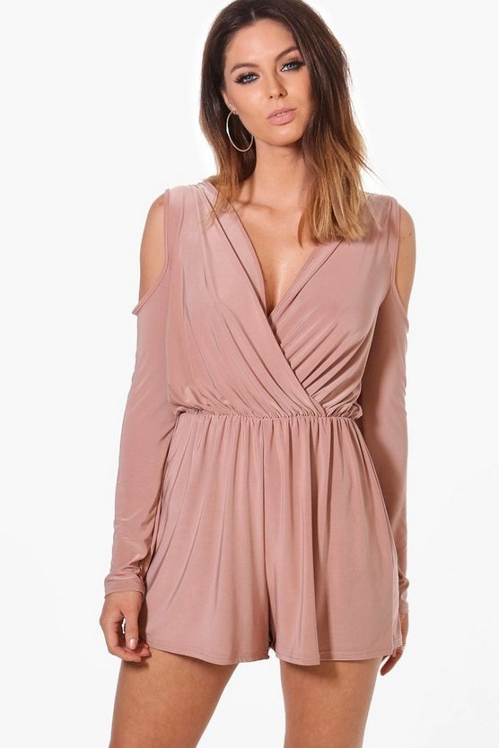 Faye Cold Shoulder Slinky Playsuit