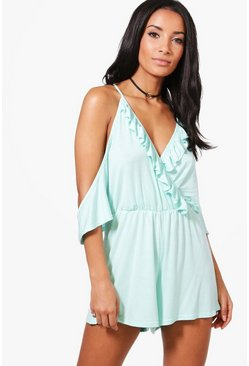 Mia Ruffle Cold Shoulder Playsuit