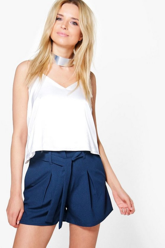 Lucia Tie Belt Woven Tailored Shorts