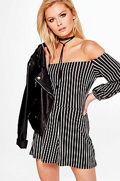 Norah Striped Off The Shoulder Playsuit