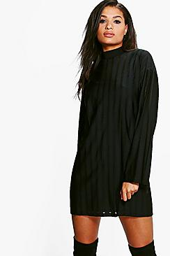 Heather High Neck Sheer Stripe Shift Dress