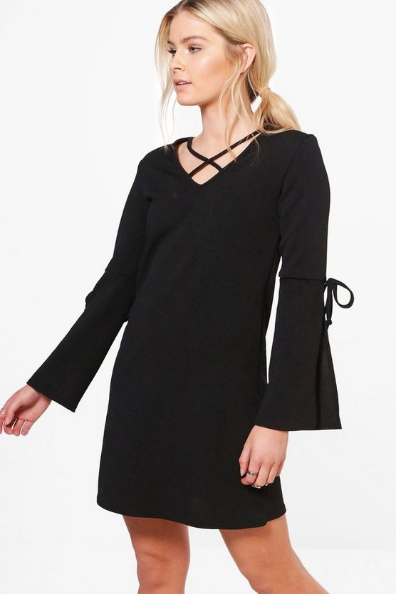 Tamara Tie Sleeve Neck Detail Shift Dress