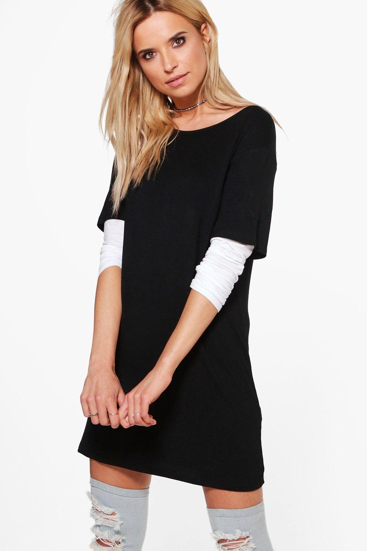 boohoo damen tiffany 2 in 1 t shirt kleid. Black Bedroom Furniture Sets. Home Design Ideas