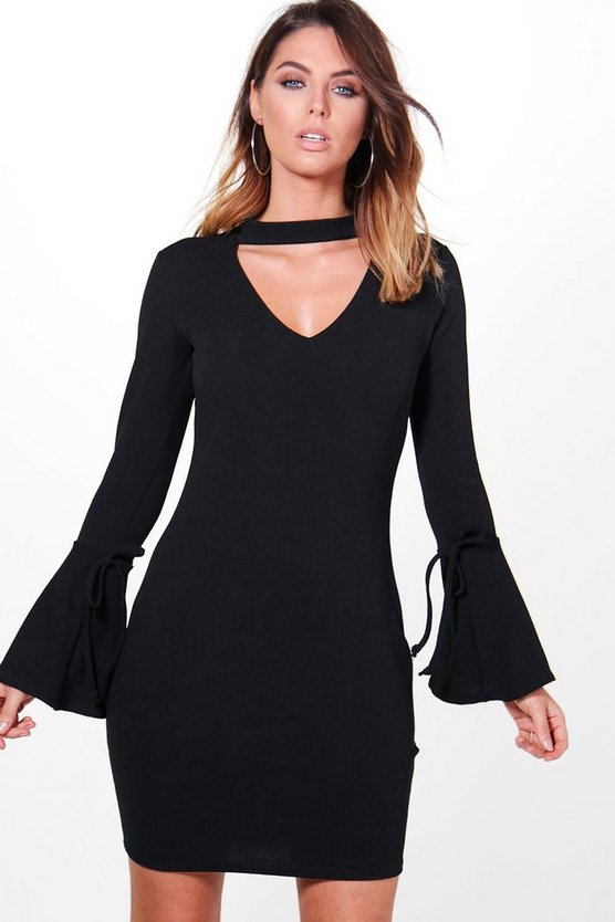 Lottie Choker Tie Sleeve Shift Dress