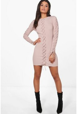 Joanna Lace Up Detail Bodycon Dress