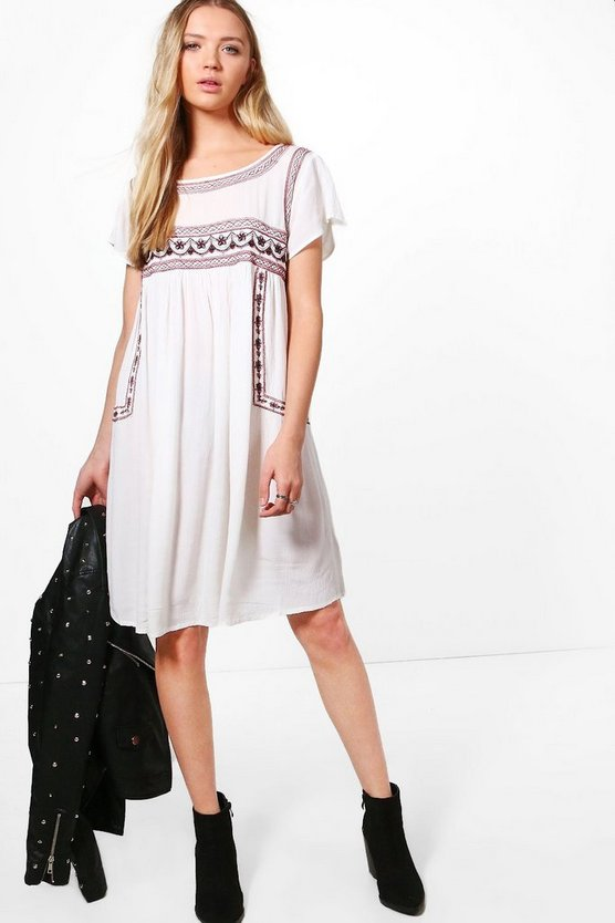 Jenna Embroidered Smock Dress