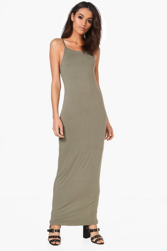 Han Double Layer Strappy Bodycon Maxi Dress