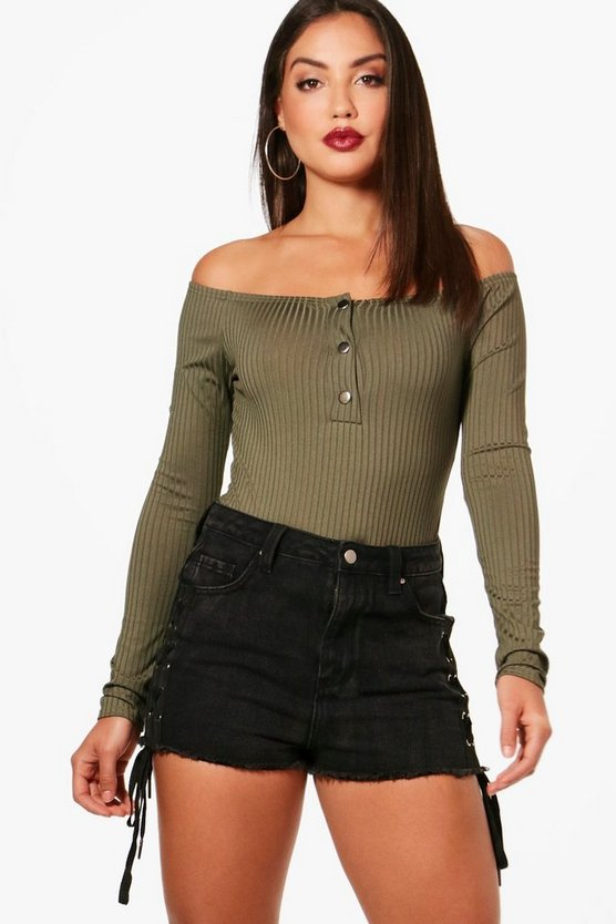 Kaitlyn Rib Off the Shoulder Bodysuit