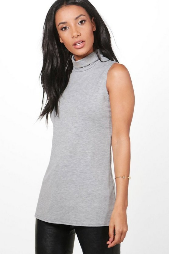 Aria Sleeveless Roll Neck Top