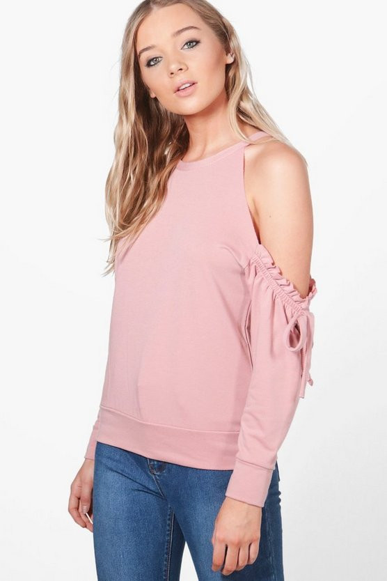 Hollie Cold Shoulder Ruffle Sweat
