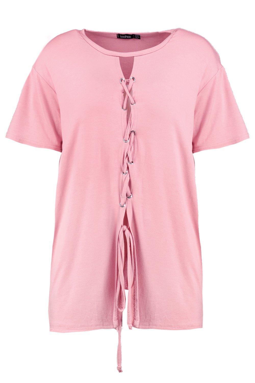 Boohoo-Hope-T-shirt-Allacciata-Davanti-per-Donna