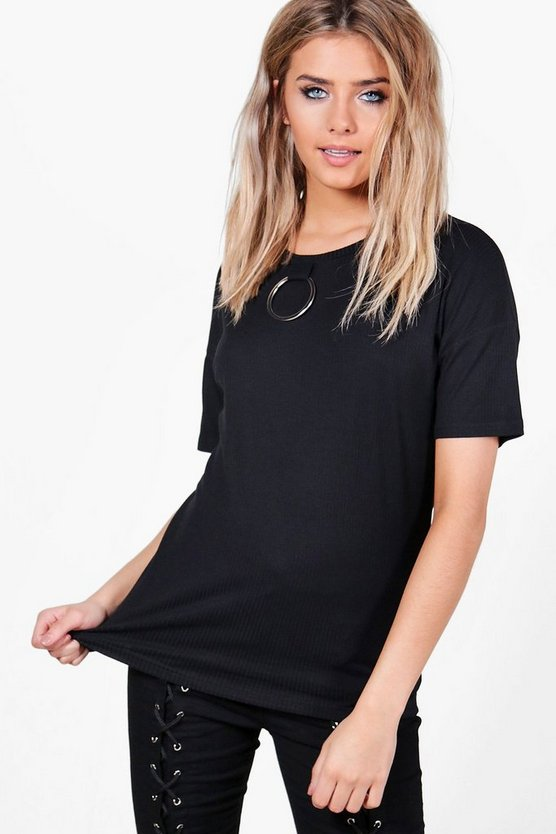 Sophie Ribbed Ring Detail T-Shirt