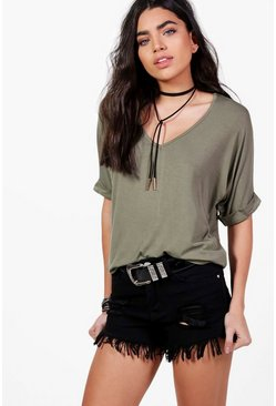 Aria Oversized V Neck T Shirt