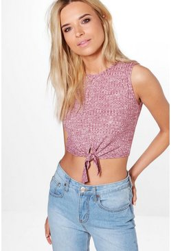 Maria Rib Tie Front Sleeveless Crop