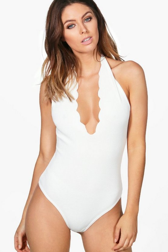 Molly Scallop Halter Bodysuit